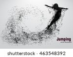 silhouette of a jumping girl... | Shutterstock .eps vector #463548392