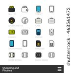 black and color outline icons ...