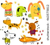 vector set of funny cartoon... | Shutterstock .eps vector #463575812