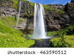 the beautiful seljalandsfoss... | Shutterstock . vector #463590512