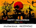 halloween night background with ... | Shutterstock .eps vector #463594562