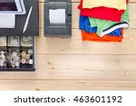 neatly folded pile of brightly... | Shutterstock . vector #463601192