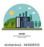 plant circle trees sun building ... | Shutterstock .eps vector #463608542