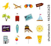 flat miami icons set. universal ...