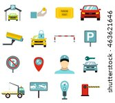 flat parking icons set....