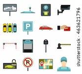 flat car parking icons set....