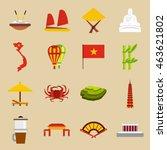 flat vietnam icons set....