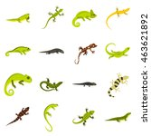 Flat Lizard Icons Set....