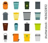 flat trash can icons set....