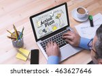 action plan concept on tablet... | Shutterstock . vector #463627646