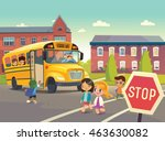 a child boarding the school bus ... | Shutterstock .eps vector #463630082