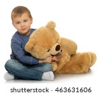 beautiful little boy sitting on ... | Shutterstock . vector #463631606