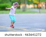 girl is playing hopscotch game... | Shutterstock . vector #463641272
