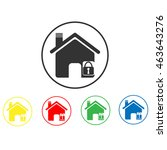 home lock icon | Shutterstock .eps vector #463643276