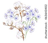 cotton and flax. hand drawn... | Shutterstock .eps vector #463643402