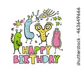 happy birthday. print with cute ... | Shutterstock .eps vector #463649666