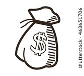 flat design money bag icon...