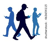 walking people with a mobile... | Shutterstock .eps vector #463654115