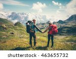 couple man and woman with... | Shutterstock . vector #463655732