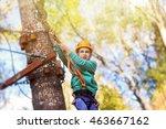 kid ready to zip line flight in ... | Shutterstock . vector #463667162