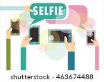 selfie design over white...   Shutterstock .eps vector #463674488