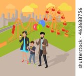 family holiday in the amusement ... | Shutterstock . vector #463688756