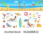 big set summer vacation items... | Shutterstock . vector #463688822