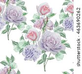 seamless pattern with roses.... | Shutterstock . vector #463690262