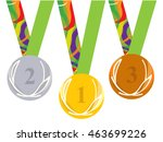 gold medal icon. silver medal... | Shutterstock .eps vector #463699226