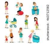 illustration set of nine... | Shutterstock .eps vector #463712582
