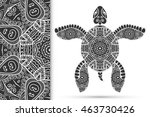 decorative turtle with ornament ... | Shutterstock .eps vector #463730426