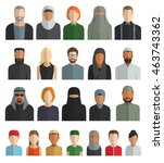 vector set of avatar flat icons.... | Shutterstock .eps vector #463743362