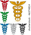 A set of the medical symbol caduceus on white background - blend only - stock vector