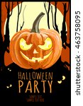 happy halloween party poster ... | Shutterstock .eps vector #463758095