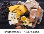 cheese plate with grapes  bread ...   Shutterstock . vector #463761356