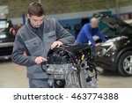 apprentice mechanic in auto... | Shutterstock . vector #463774388
