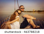 smiling couple sitting and... | Shutterstock . vector #463788218