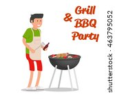 man of cooking meat with a... | Shutterstock .eps vector #463795052