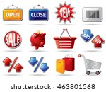 shopping icons in red  blue ... | Shutterstock .eps vector #463801568
