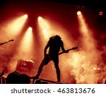silhouette of guitar player in... | Shutterstock . vector #463813676