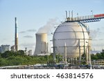 refinery storage tanks with... | Shutterstock . vector #463814576