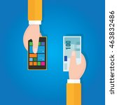 sell buying used mobile phone... | Shutterstock .eps vector #463832486