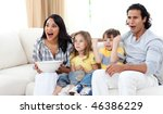 cute siblings watching tv with... | Shutterstock . vector #46386229