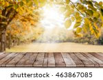 empty wooden table with autumn... | Shutterstock . vector #463867085
