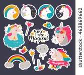 set of stickers with baby... | Shutterstock . vector #463869662