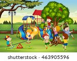 many children playing in the... | Shutterstock .eps vector #463905596