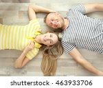 beautiful couple lying on... | Shutterstock . vector #463933706