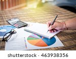 woman writing idea for analysis ... | Shutterstock . vector #463938356