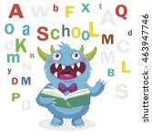 funny monster read book on a... | Shutterstock .eps vector #463947746
