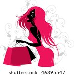 silhouette of fashion girl with ... | Shutterstock .eps vector #46395547